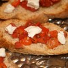 Roasted Red Pepper, Tomato and Goat Cheese Bruschetta