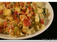 Summer Veggies and Sun Dried Tomatoes over Egg Noodles