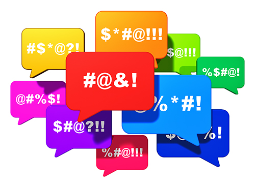 Color speech bubbles or balloons with censored swearing words isolated on white background